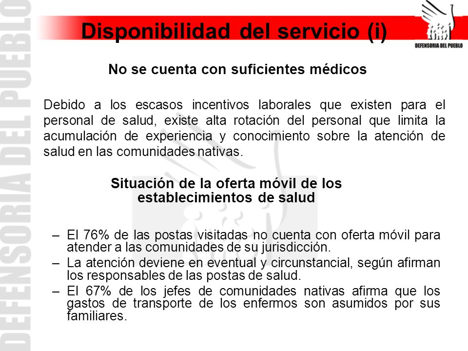 Disponibilidad del servicio (i)