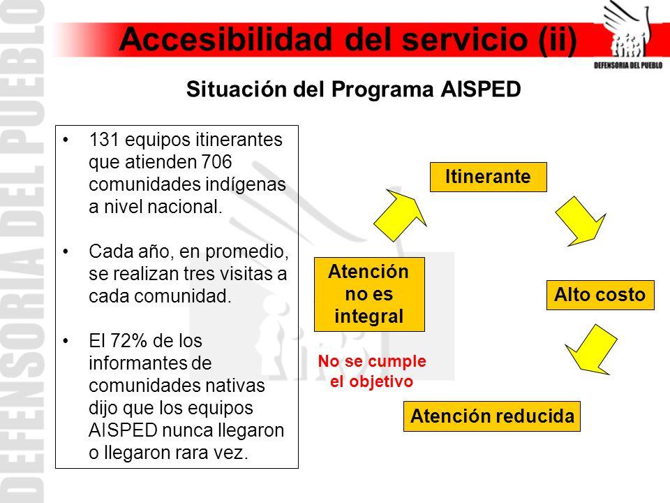 Accesibilidad del servicio (ii) Situación del Programa AISPED