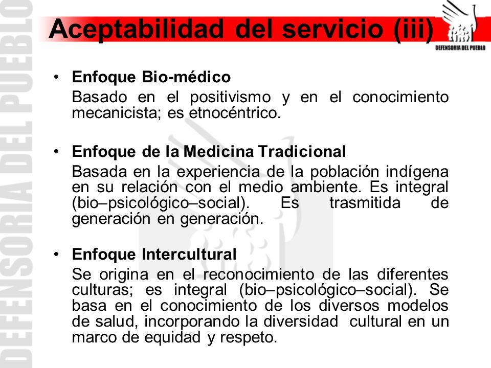 Aceptabilidad del servicio (iii)