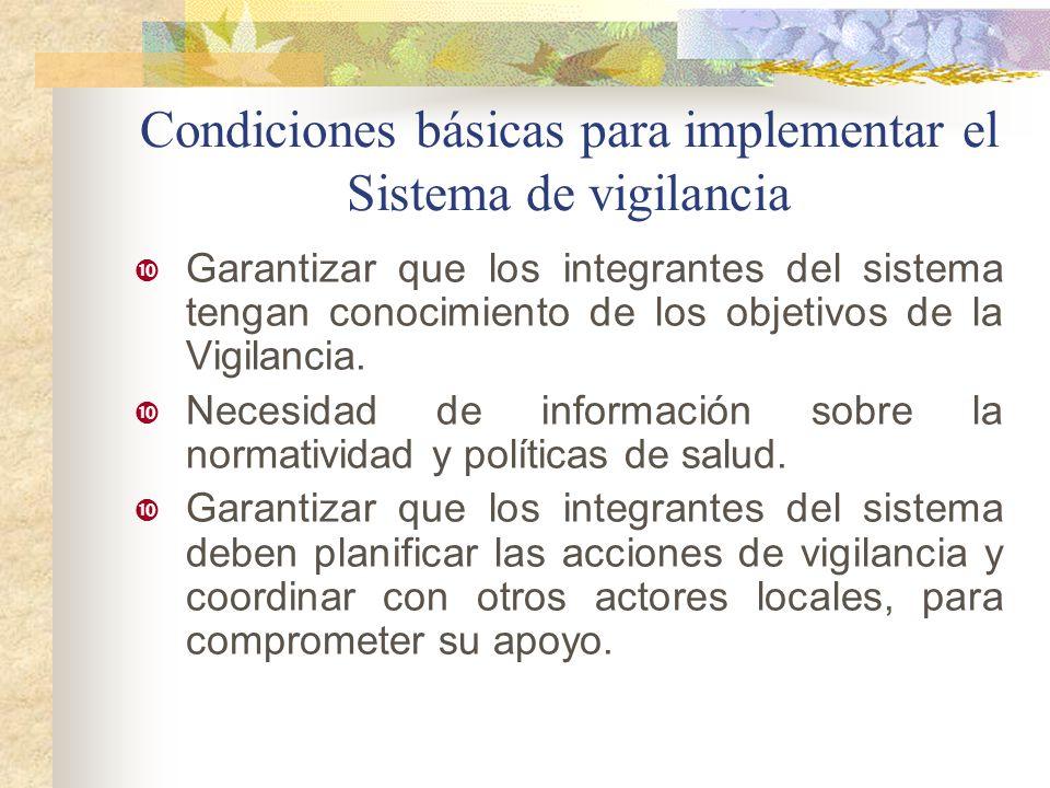 Condiciones básicas para implementar el Sistema de vigilancia