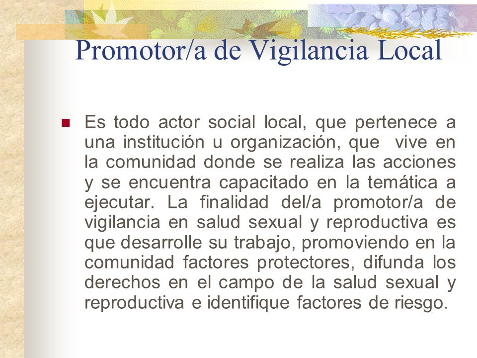 Promotor/a de Vigilancia Local