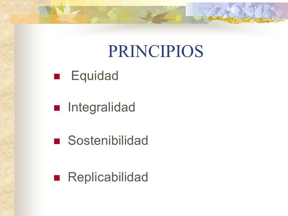 PRINCIPIOS Equidad Integralidad Sostenibilidad Replicabilidad