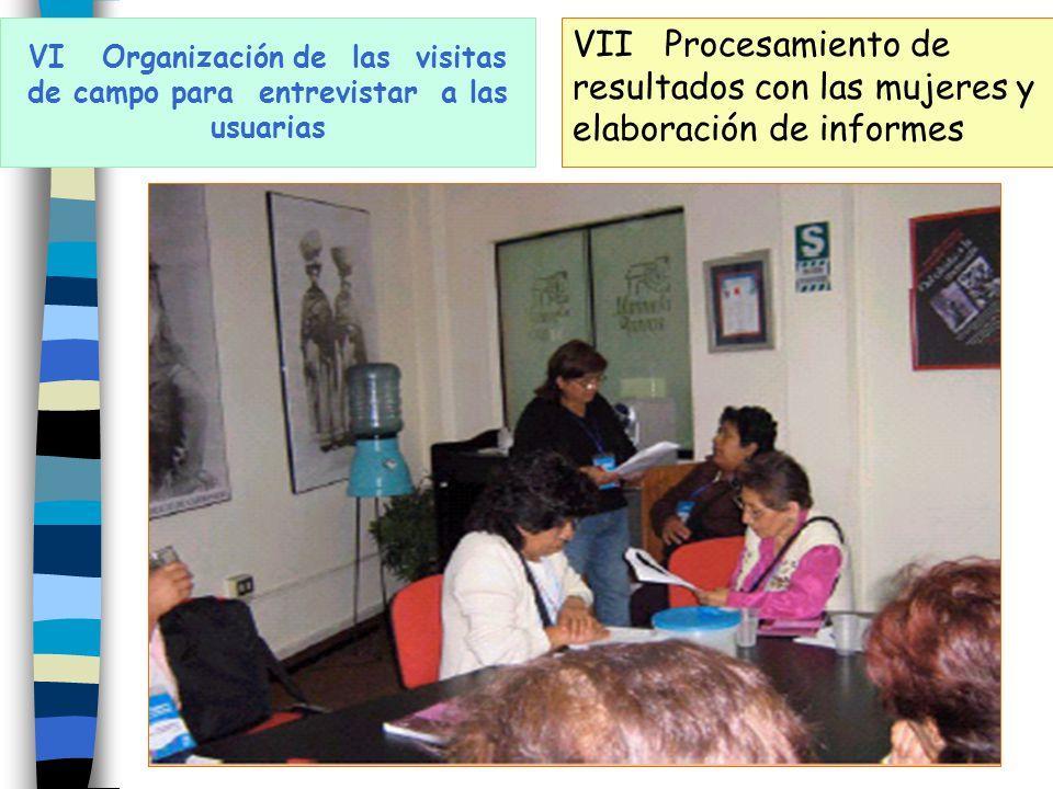 VI Organización de las visitas de campo para entrevistar a las usuarias