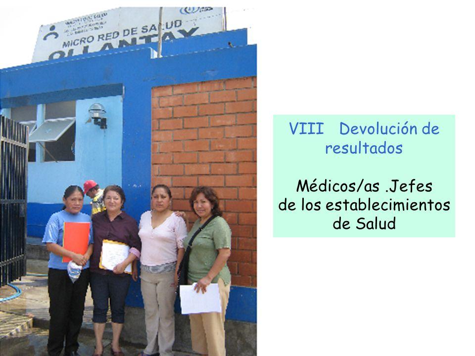 VIII Devolución de resultados Médicos/as