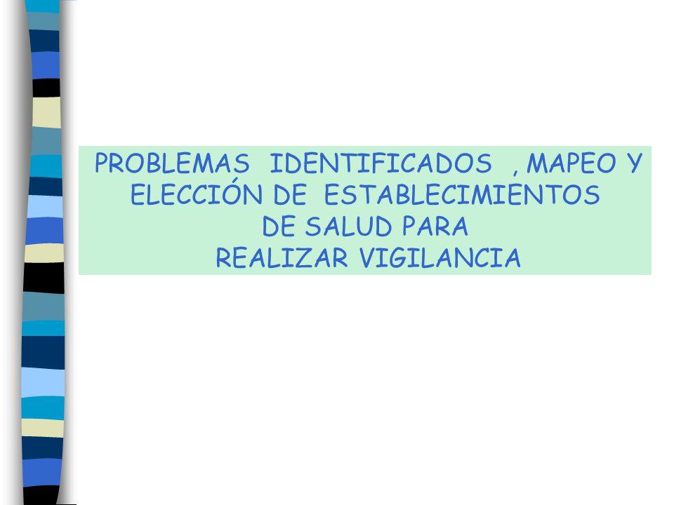 PROBLEMAS IDENTIFICADOS , MAPEO Y ELECCIÓN DE ESTABLECIMIENTOS DE SALUD PARA REALIZAR VIGILANCIA