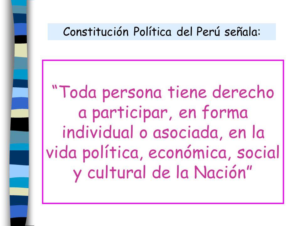 Constitución Política del Perú señala: