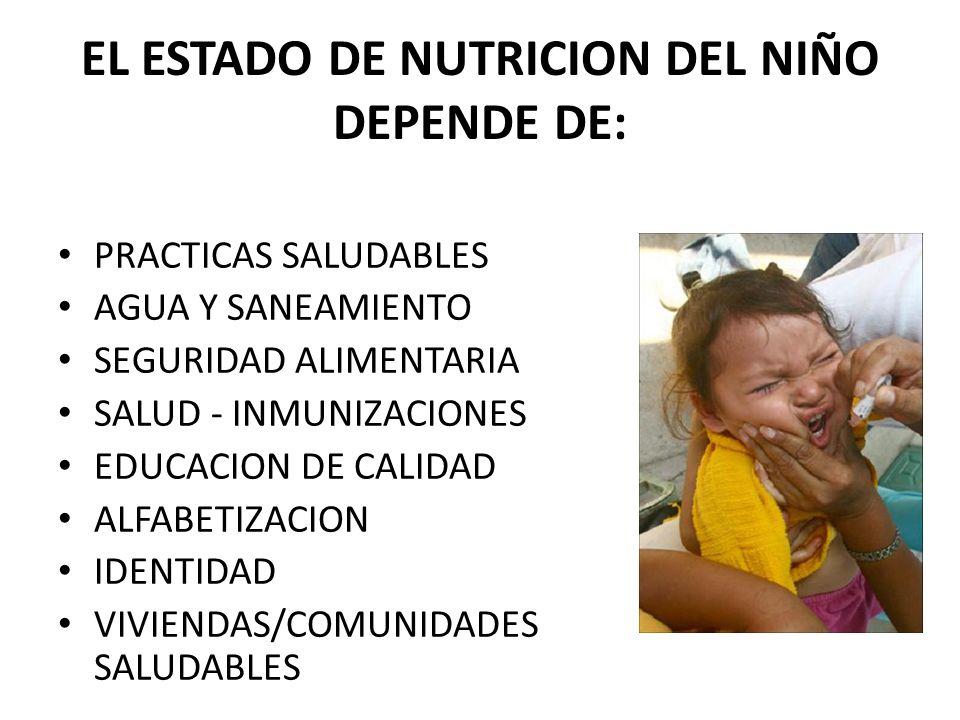 EL ESTADO DE NUTRICION DEL NIÑO DEPENDE DE: