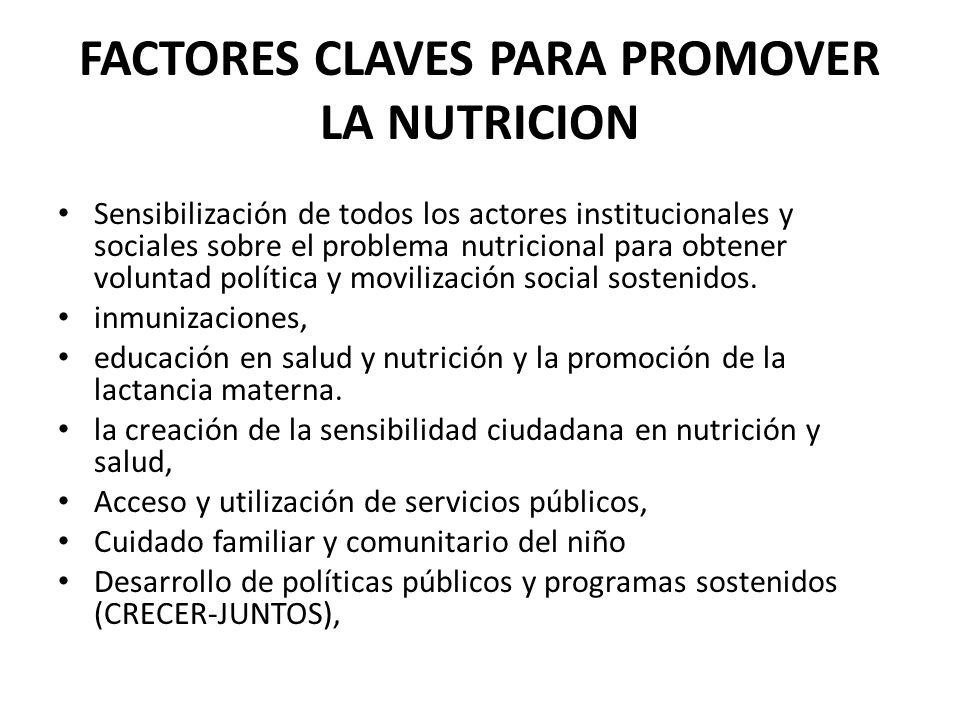 FACTORES CLAVES PARA PROMOVER LA NUTRICION