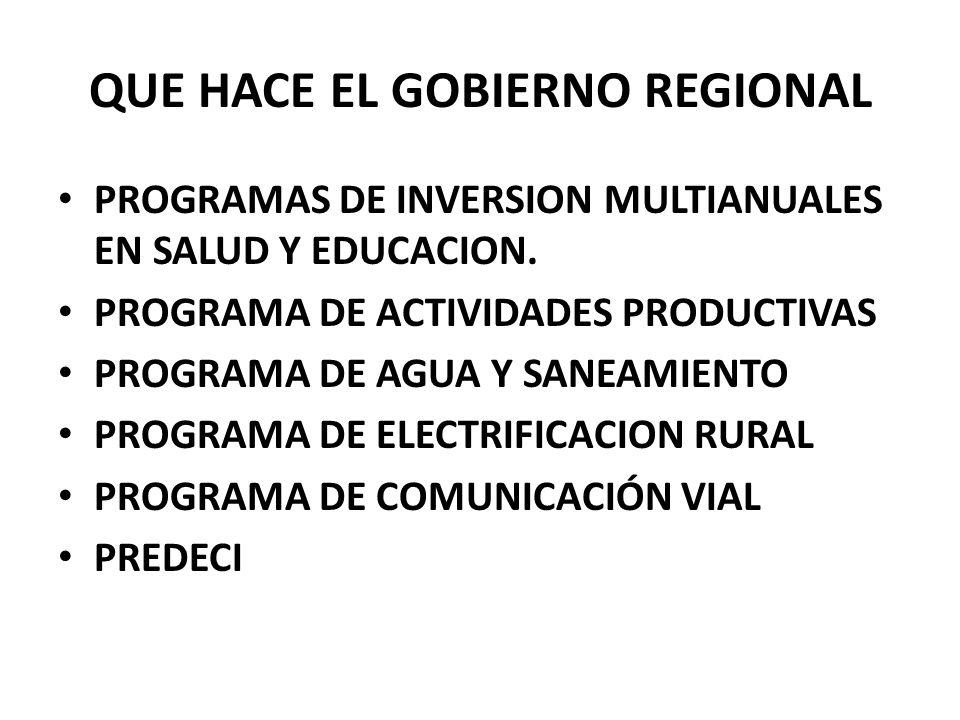 QUE HACE EL GOBIERNO REGIONAL