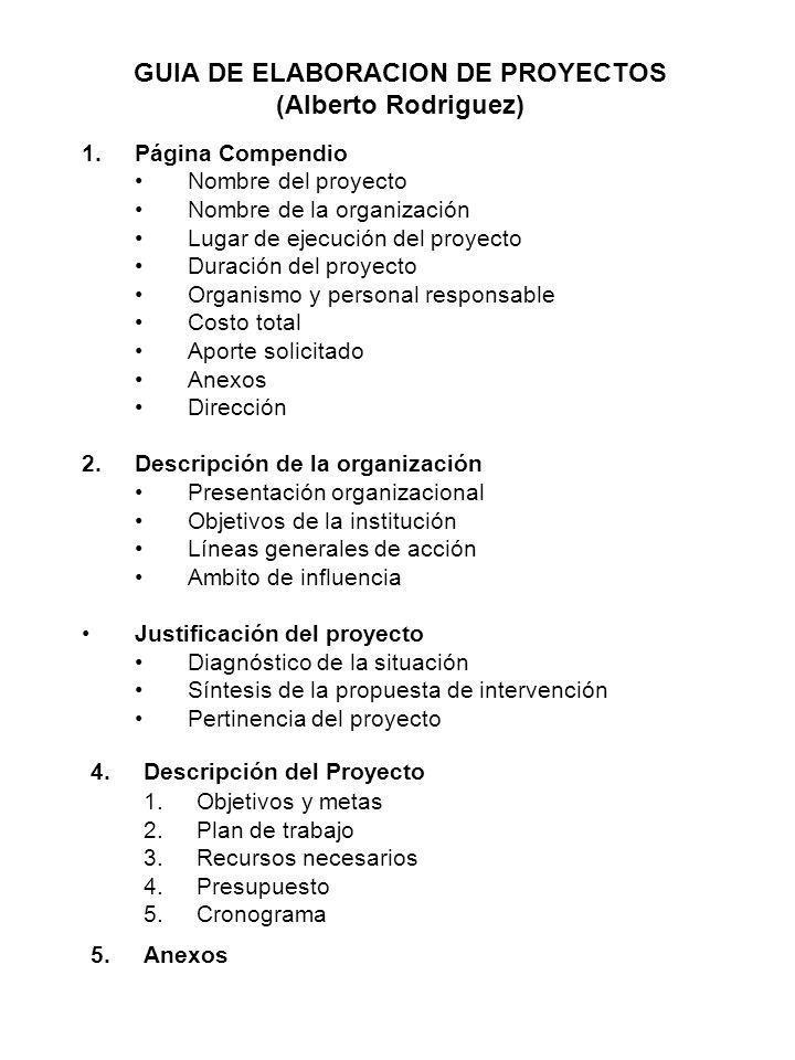 GUIA DE ELABORACION DE PROYECTOS (Alberto Rodriguez)