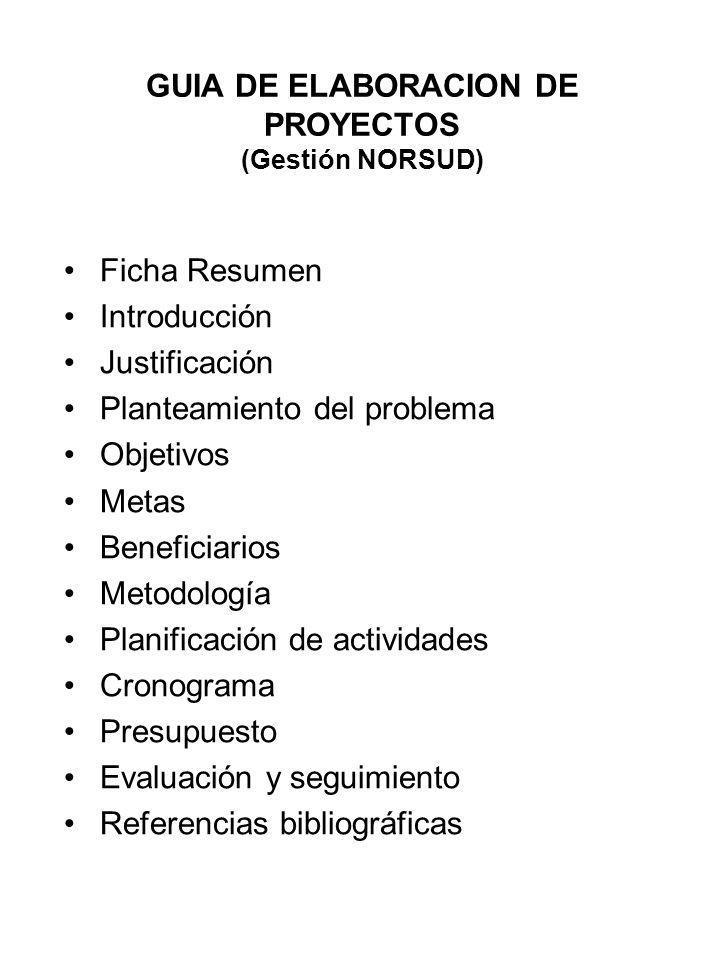 GUIA DE ELABORACION DE PROYECTOS (Gestión NORSUD)