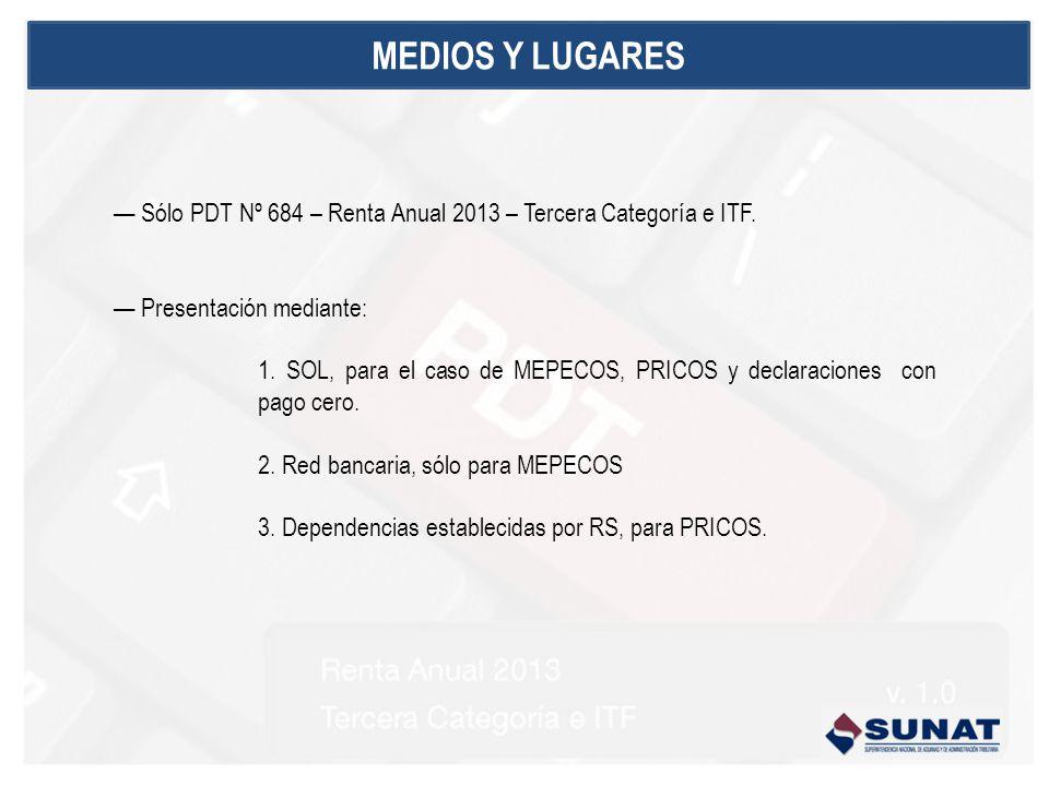 MEDIOS Y LUGARES — Sólo PDT Nº 684 – Renta Anual 2013 – Tercera Categoría e ITF. — Presentación mediante: