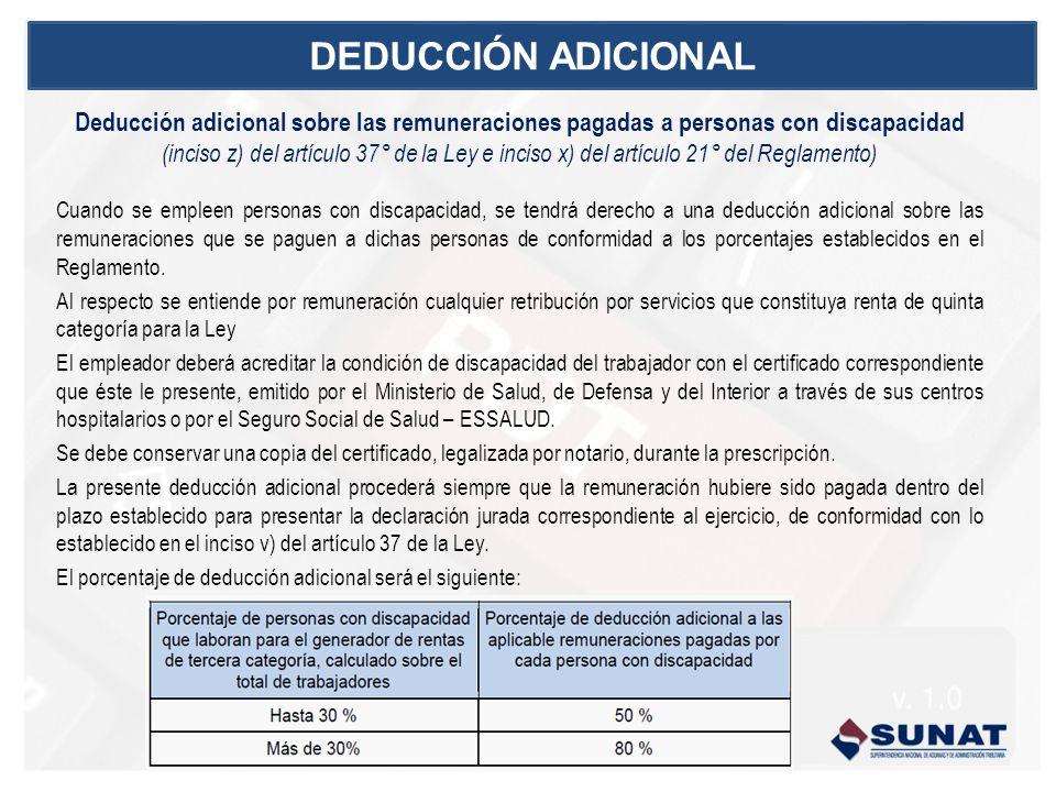 DEDUCCIÓN ADICIONAL Deducción adicional sobre las remuneraciones pagadas a personas con discapacidad.