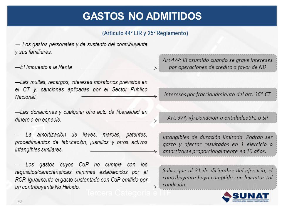 GASTOS NO ADMITIDOS (Artículo 44º LIR y 25º Reglamento)