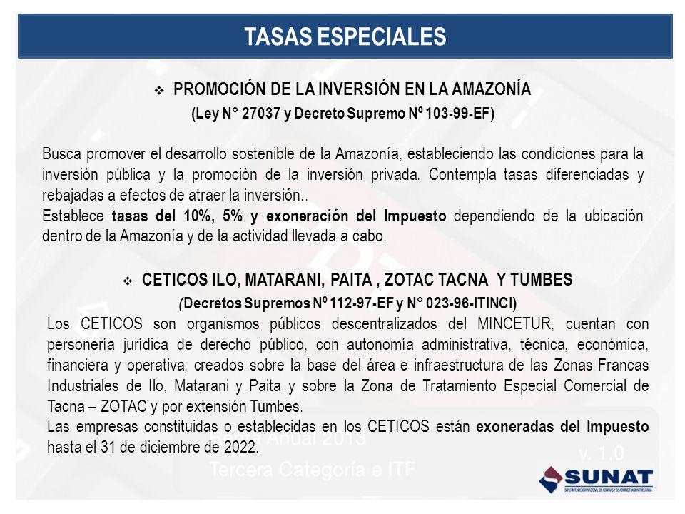 TASAS ESPECIALES PROMOCIÓN DE LA INVERSIÓN EN LA AMAZONÍA