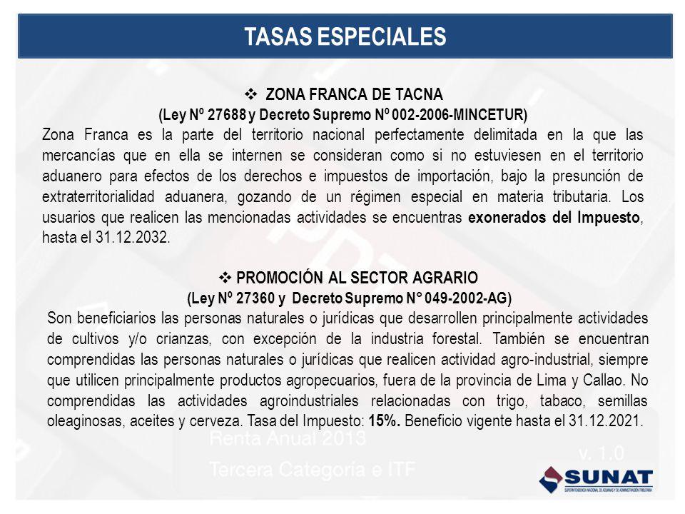 TASAS ESPECIALES ZONA FRANCA DE TACNA