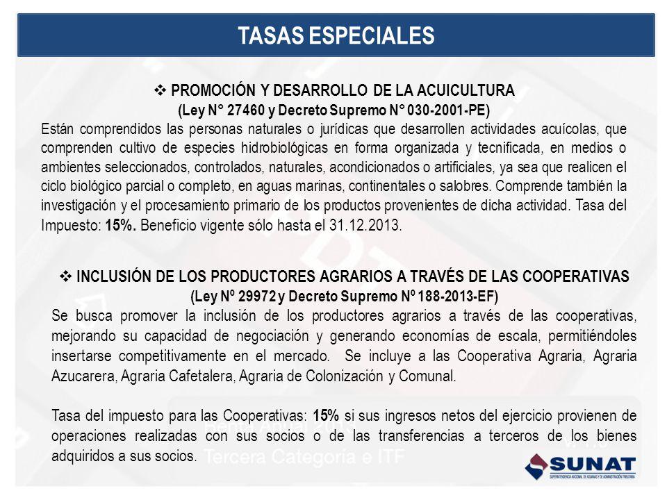 TASAS ESPECIALES PROMOCIÓN Y DESARROLLO DE LA ACUICULTURA