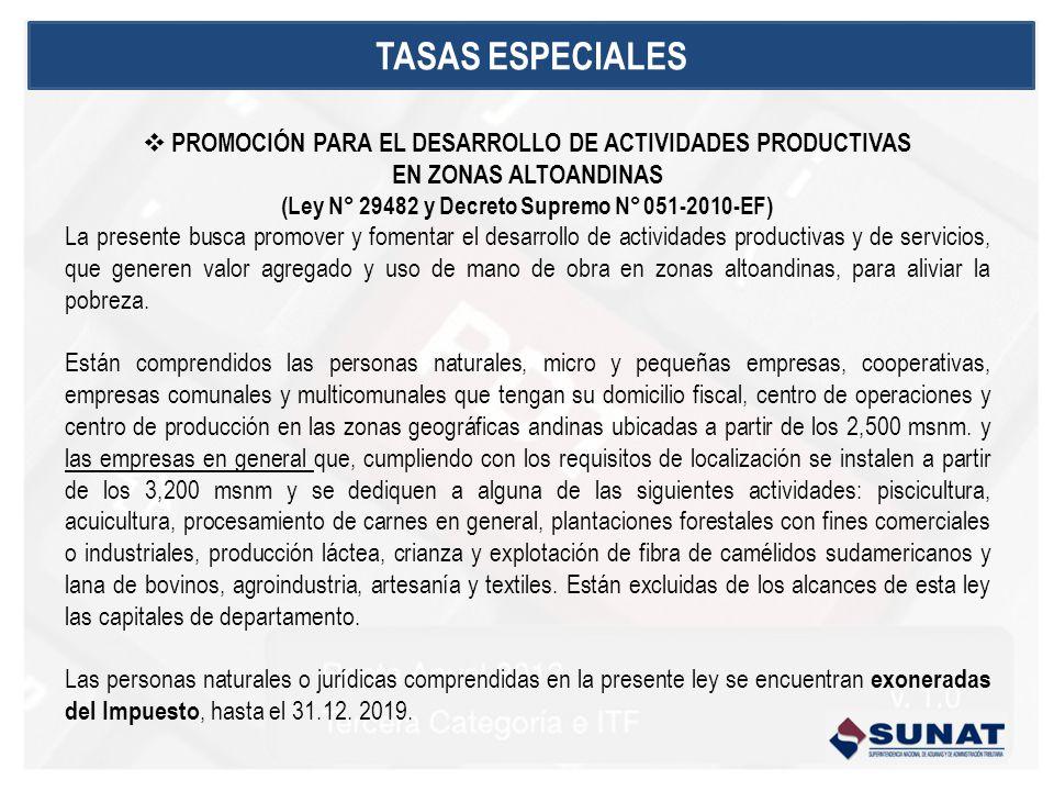 TASAS ESPECIALES PROMOCIÓN PARA EL DESARROLLO DE ACTIVIDADES PRODUCTIVAS. EN ZONAS ALTOANDINAS. (Ley N° 29482 y Decreto Supremo N° 051-2010-EF)