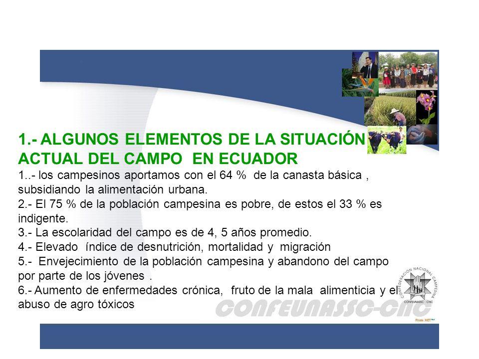 1.- ALGUNOS ELEMENTOS DE LA SITUACIÓN ACTUAL DEL CAMPO EN ECUADOR