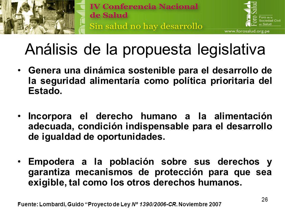 Análisis de la propuesta legislativa