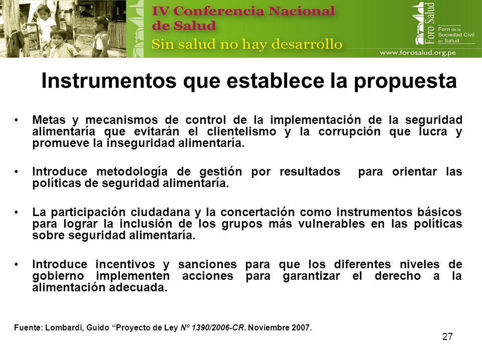 Instrumentos que establece la propuesta