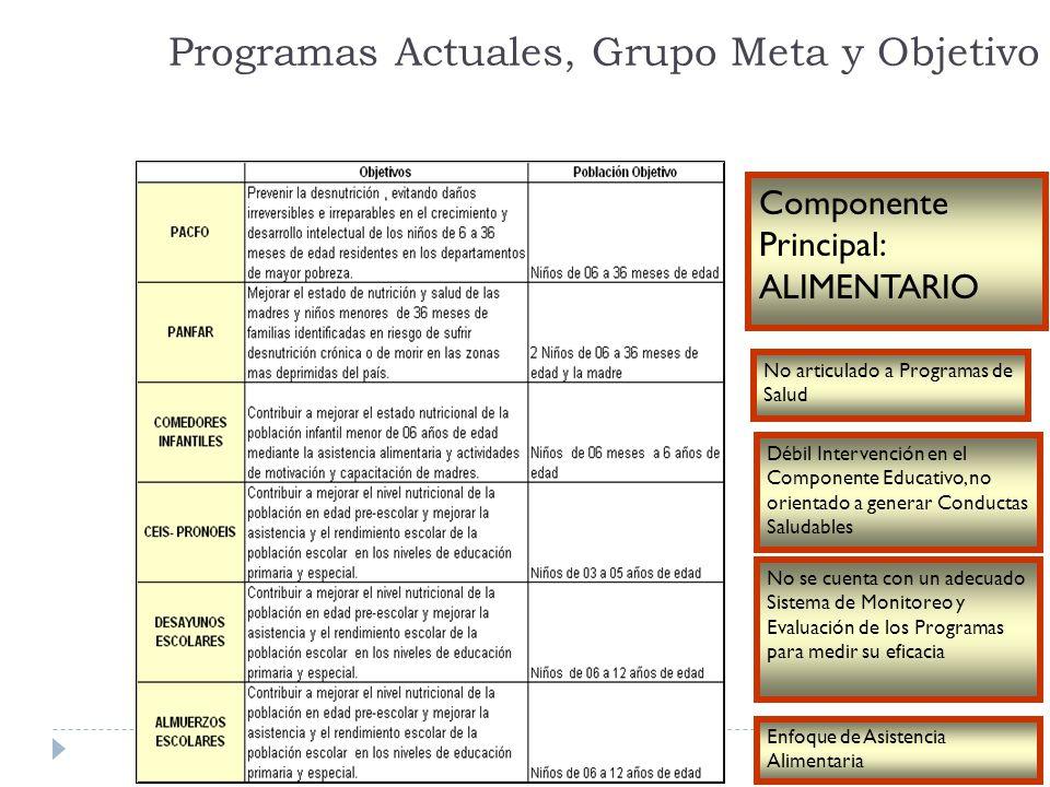 Programas Actuales, Grupo Meta y Objetivo