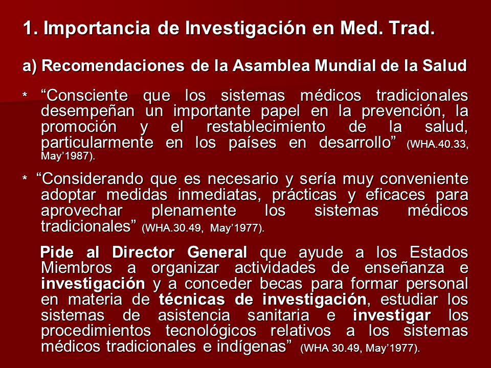 1. Importancia de Investigación en Med. Trad.
