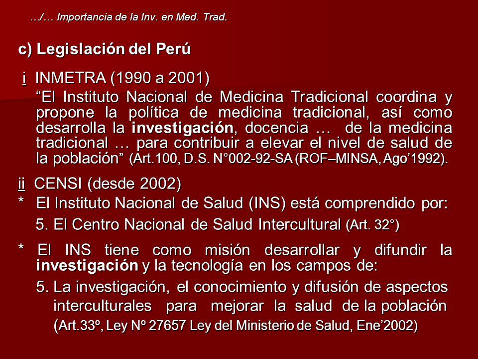 c) Legislación del Perú i INMETRA (1990 a 2001)