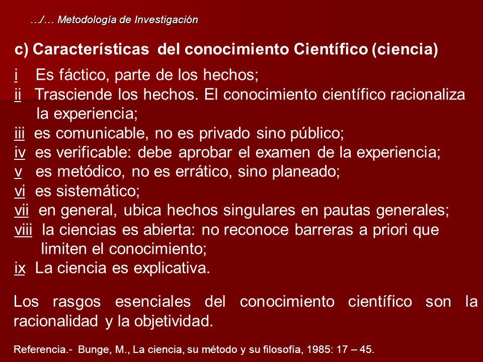 Características del conocimiento Científico (ciencia)