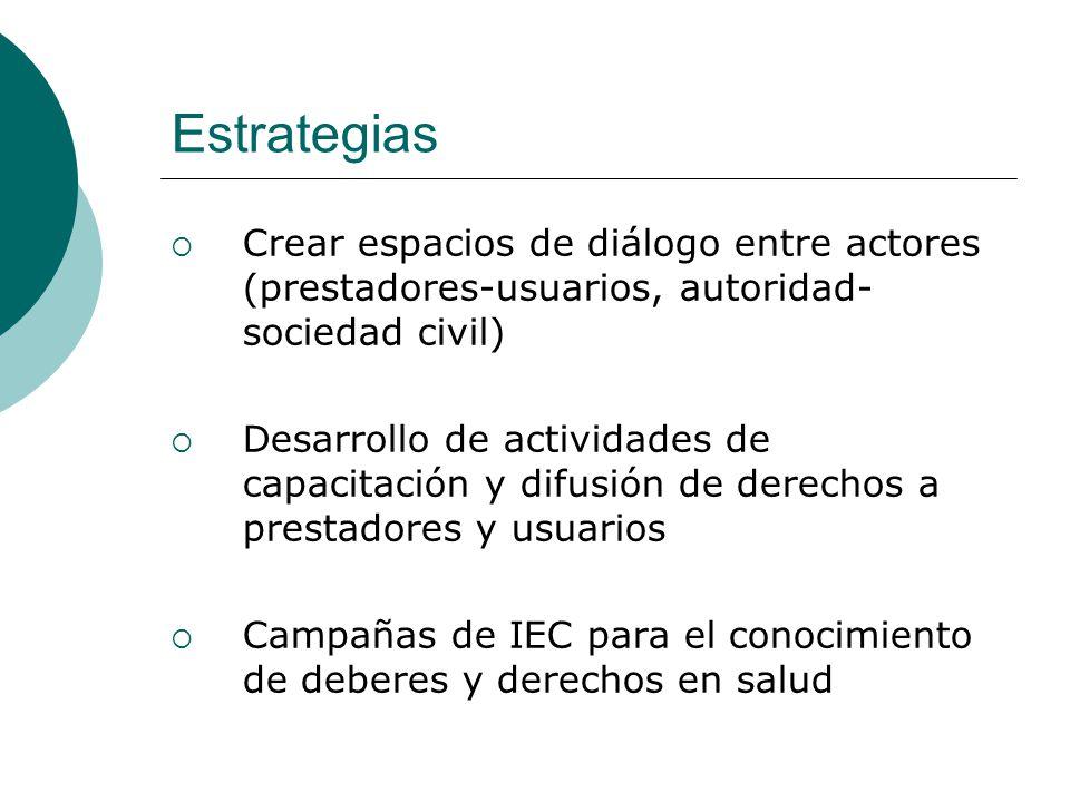 Estrategias Crear espacios de diálogo entre actores (prestadores-usuarios, autoridad-sociedad civil)