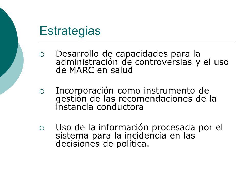 Estrategias Desarrollo de capacidades para la administración de controversias y el uso de MARC en salud.