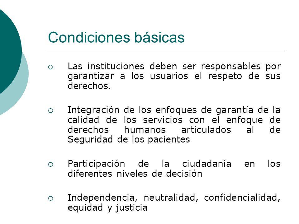 Condiciones básicas Las instituciones deben ser responsables por garantizar a los usuarios el respeto de sus derechos.