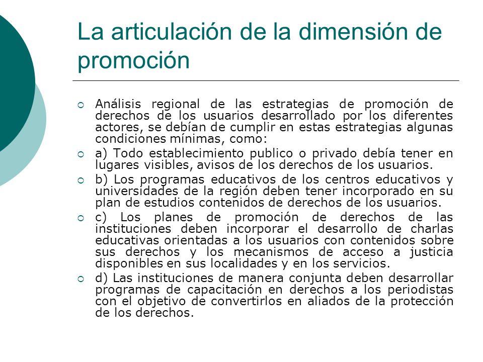 La articulación de la dimensión de promoción