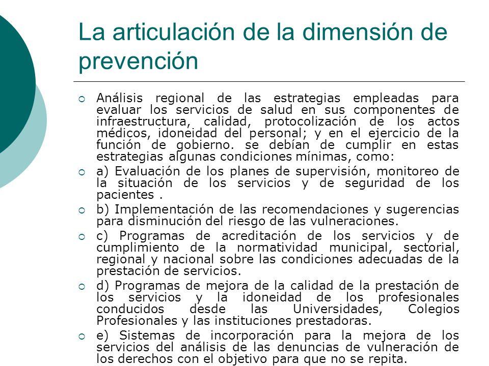 La articulación de la dimensión de prevención