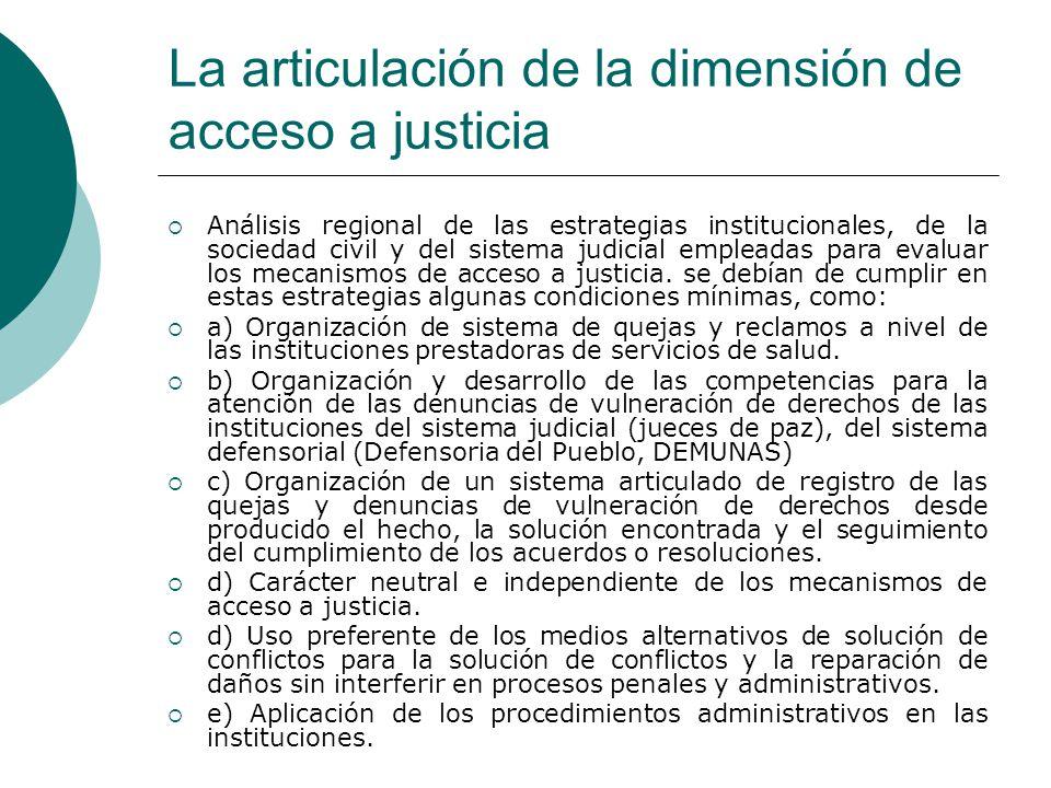 La articulación de la dimensión de acceso a justicia