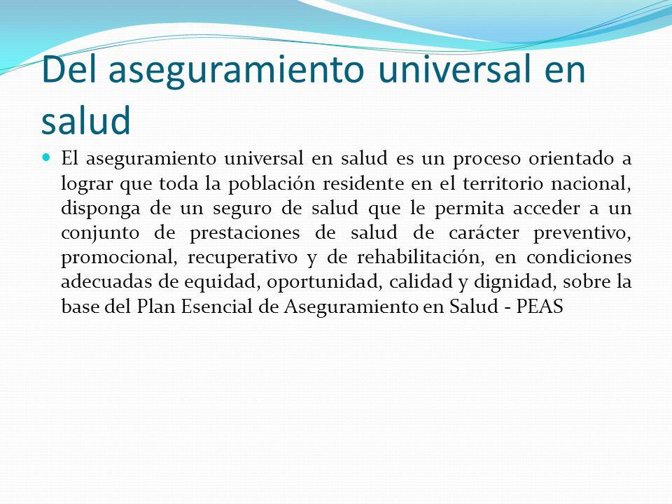 Del aseguramiento universal en salud