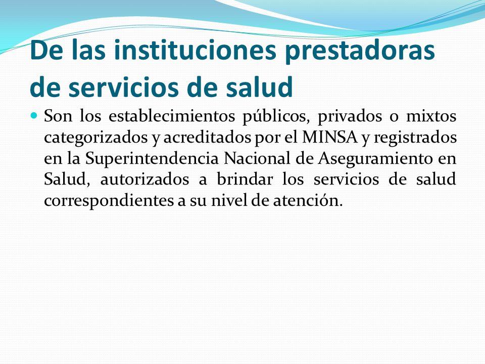 De las instituciones prestadoras de servicios de salud