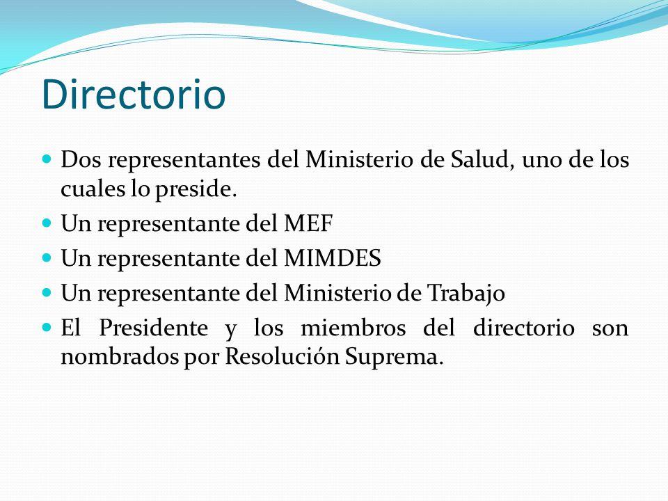 Directorio Dos representantes del Ministerio de Salud, uno de los cuales lo preside. Un representante del MEF.