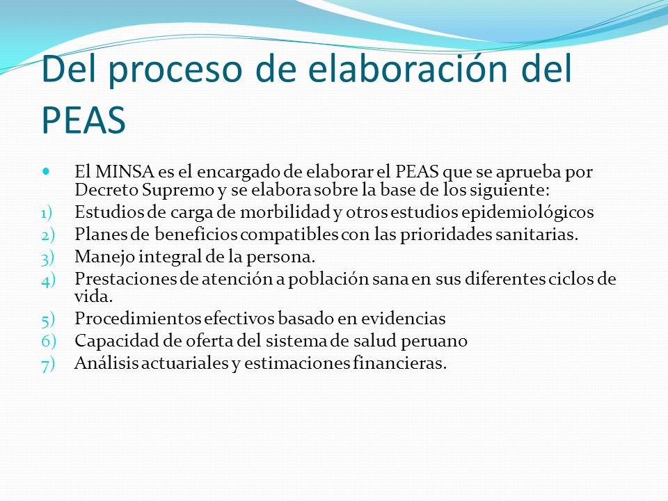 Del proceso de elaboración del PEAS