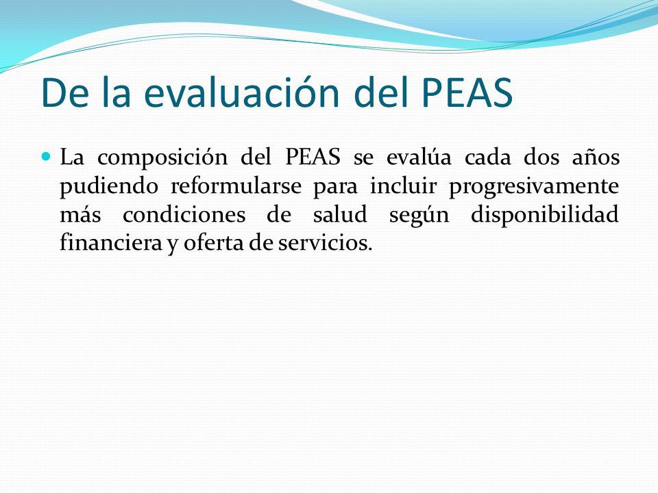 De la evaluación del PEAS