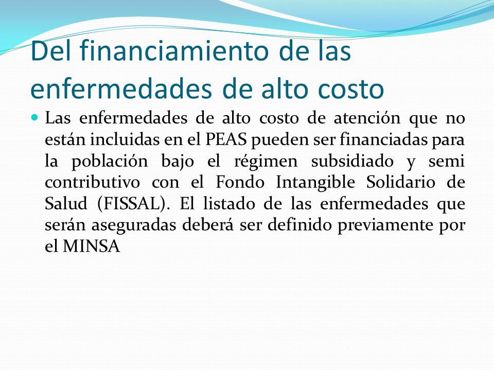 Del financiamiento de las enfermedades de alto costo