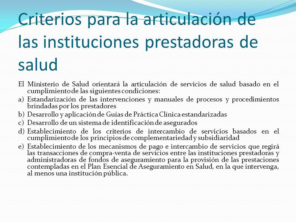 Criterios para la articulación de las instituciones prestadoras de salud