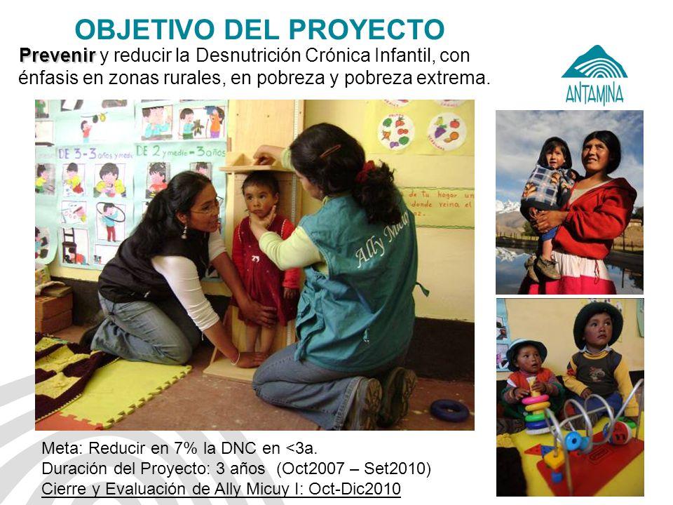 OBJETIVO DEL PROYECTO Prevenir y reducir la Desnutrición Crónica Infantil, con énfasis en zonas rurales, en pobreza y pobreza extrema.