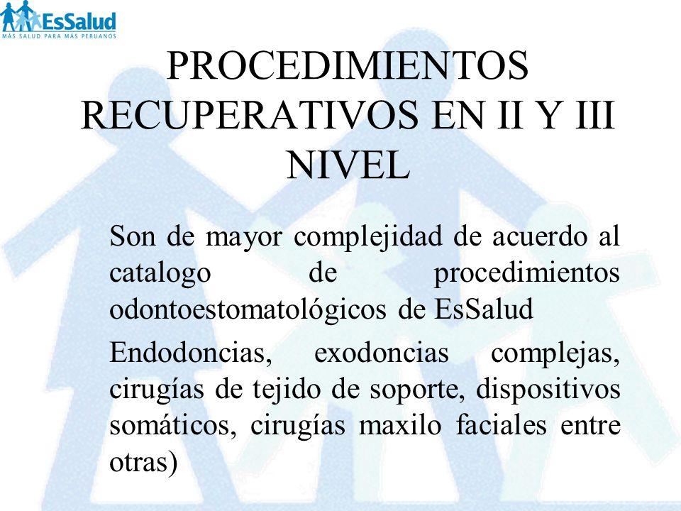 PROCEDIMIENTOS RECUPERATIVOS EN II Y III NIVEL