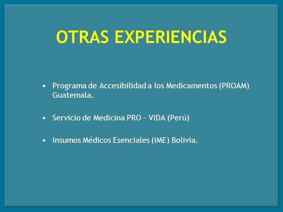 OTRAS EXPERIENCIAS Programa de Accesibilidad a los Medicamentos (PROAM) Guatemala. Servicio de Medicina PRO – VIDA (Perú)
