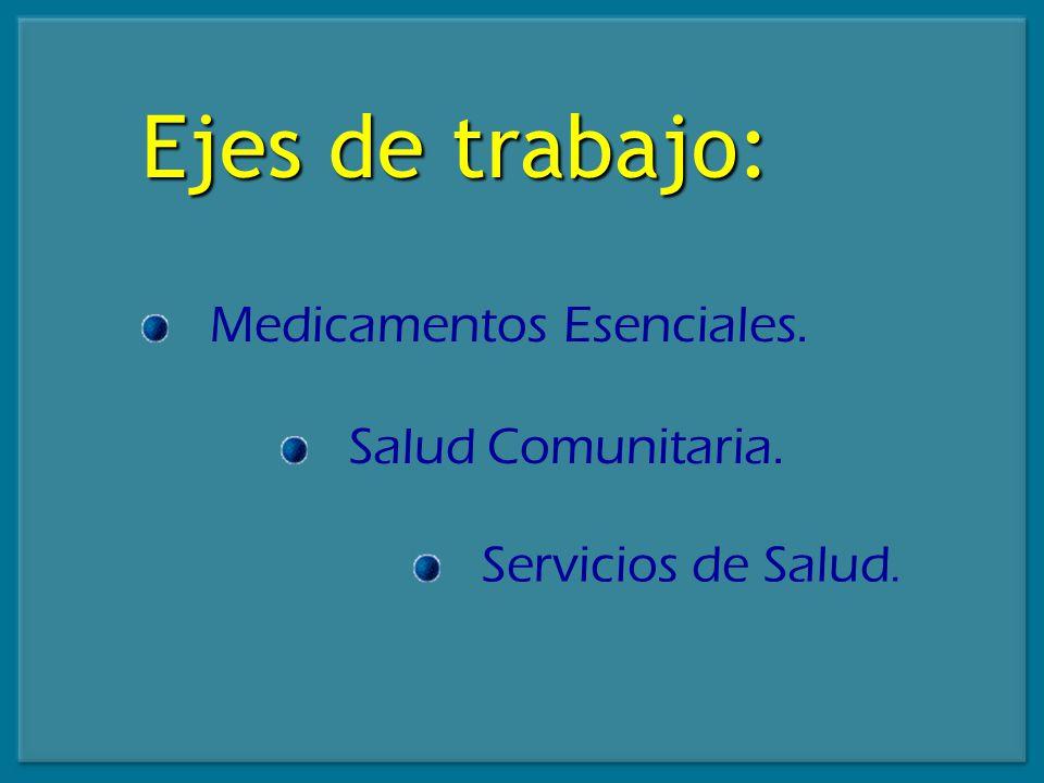 Ejes de trabajo: Medicamentos Esenciales. Salud Comunitaria.