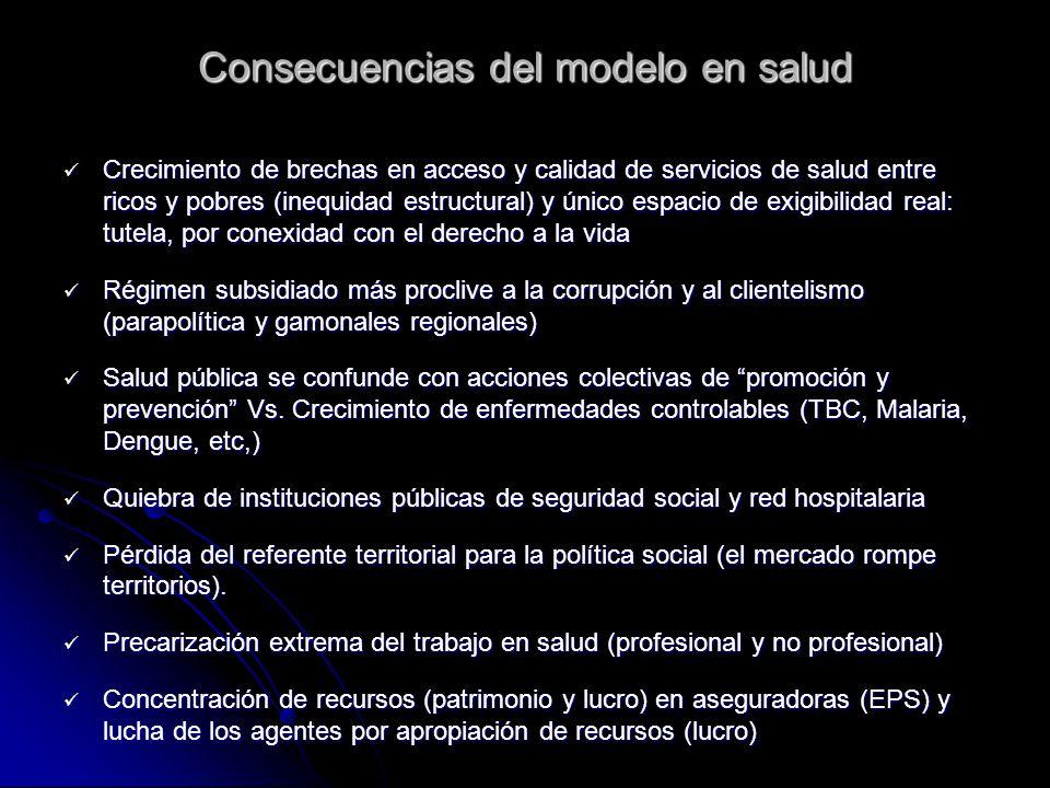 Consecuencias del modelo en salud