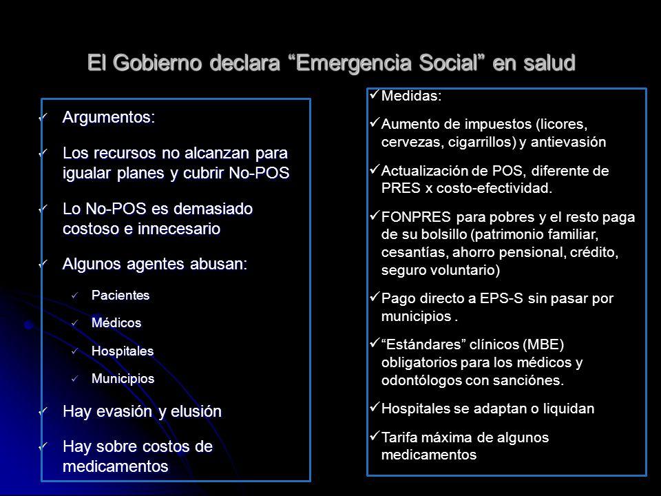 El Gobierno declara Emergencia Social en salud