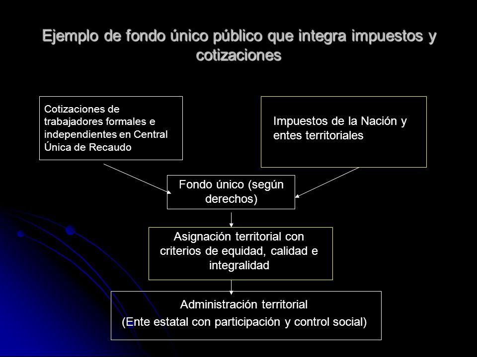 Ejemplo de fondo único público que integra impuestos y cotizaciones