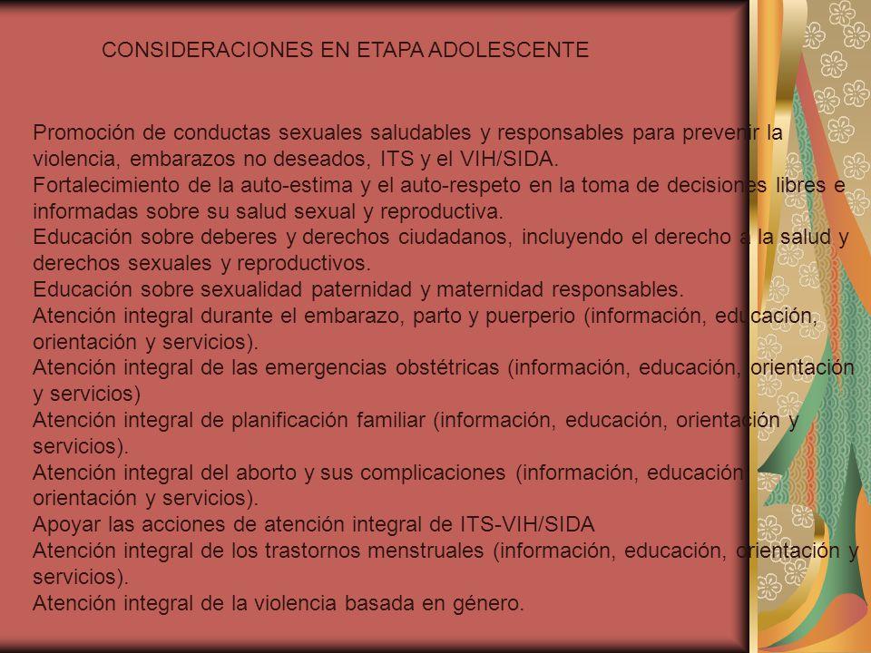 CONSIDERACIONES EN ETAPA ADOLESCENTE